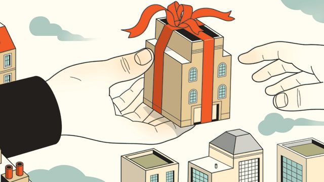 Illustration by Harry Campbell of a hand holding a building wrapped as a gift
