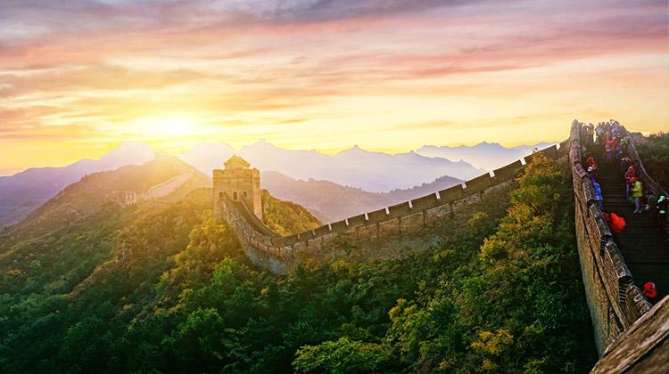 Visitors enjoy the Great Wall of China