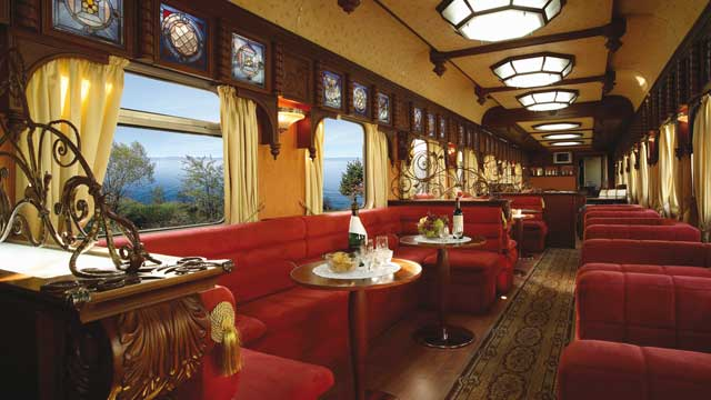 Interior view of the bar area aboard the Trans-Siberian Express.