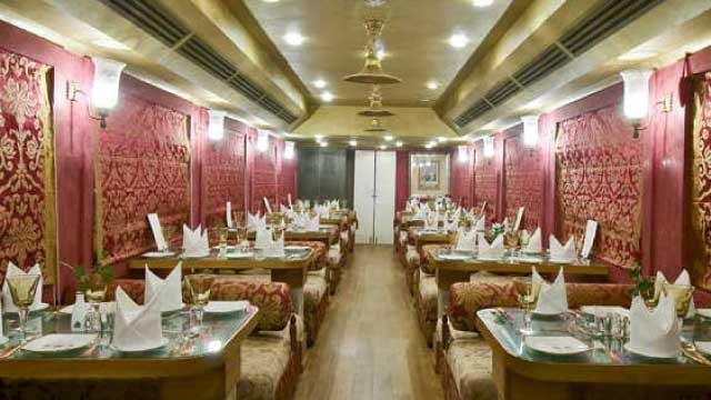Victorian and Raj furnishings decorate the dinning car of the Royal Palace on Wheels.