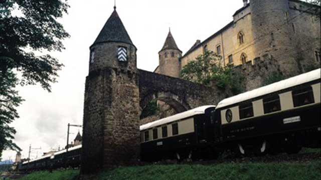 The Orient Express travels through an archway on the Paris-Istanbul trip.