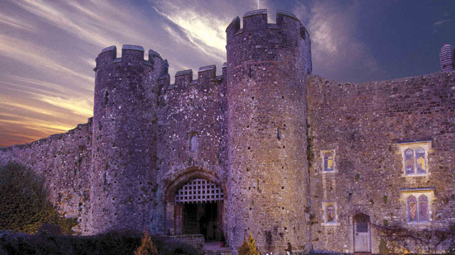 Dusk view of the Amberley Castle entranceway.