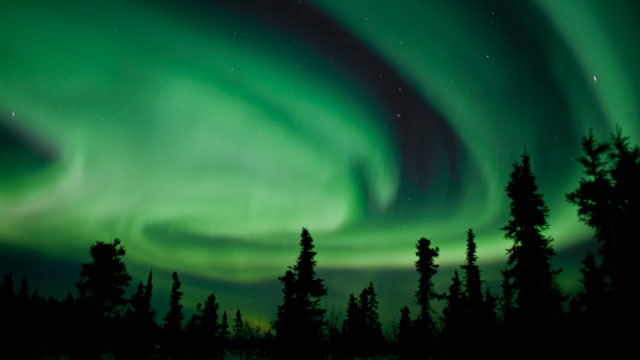 Sky view of Alaska's Northern Lights.