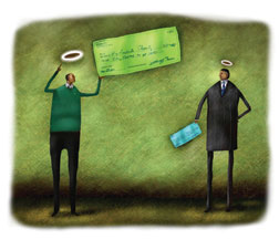 illustration of two people wearing halos holding checks