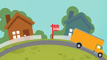 Illustration of moving trucks