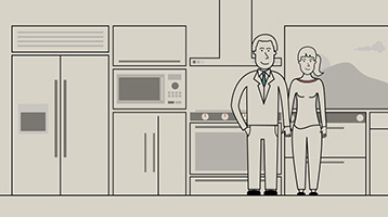 Illustrated image of a couple standing in their kitchen