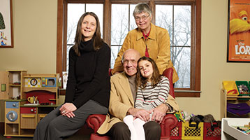 Karyn Pinter, Peter Kern and Carol Kern of the Hommer Foundation, with the Kerns' granddaughter Julia