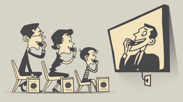 illustration of a family watching TV while eating the product they see the character eating on TV