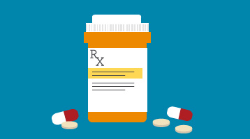 illustration of a prescription bottle with a couple of pills next to it