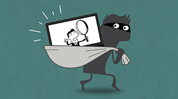 Illustration of thief with computer