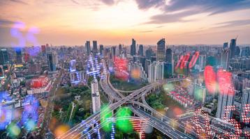 skyline with market data