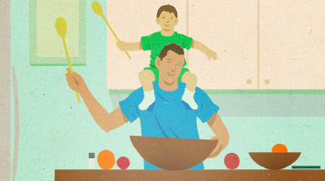 Illustration of a dad and son playing in the kitchen