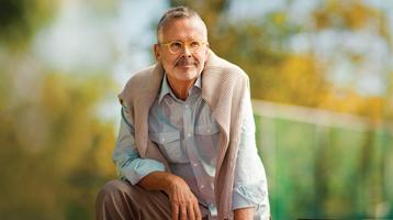 Contemplative retirement-age man