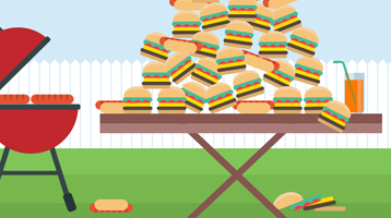 Illustration of a grill next to a table piled with hot dogs and hamburgers