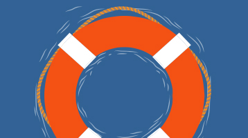 Illustration of a life preserver in the water