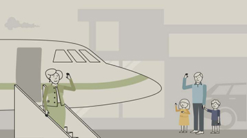 Illustration of a woman waving to her family from a jetway