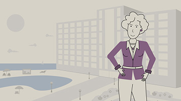 Illustration of a woman standing in front of a beachfront hotel