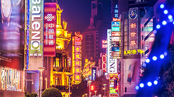 neon signage in Asian city