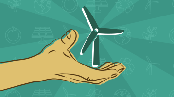 Illustration of a hand holding a windmill socially responsible investing