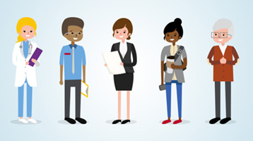 An illustration of five figures, each representing a different profession