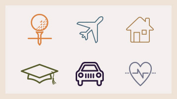 illustrated icons of travel, home, education, car, health